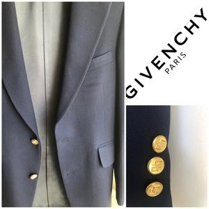Givenchy navy blue blazer gold logo button 38R